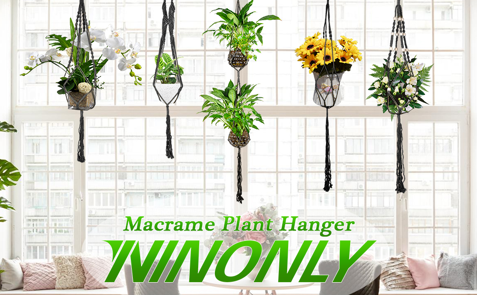 5 Pack Handmade Macrame Plant Hangers- Bring More Green To Your Home