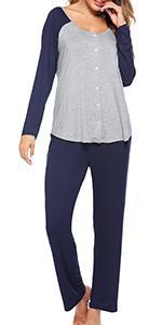 womens long sleeve pajama set