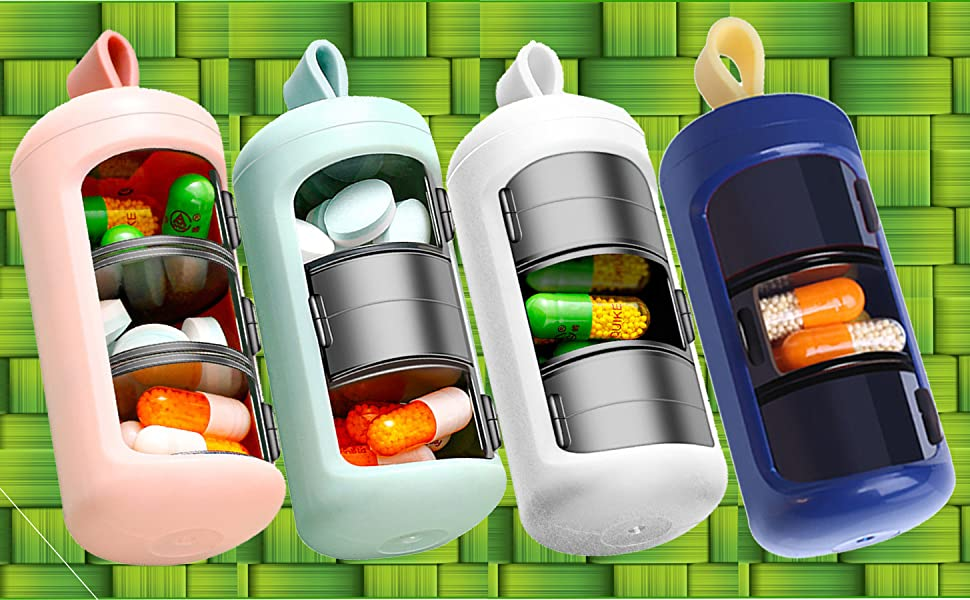 Safety Plastic keychain 2 or 3 times per day travel pill holder organizer