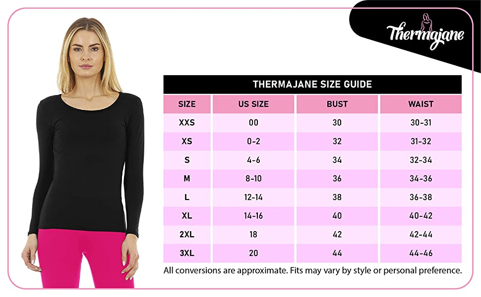 Thermajane Thermal Top Size Chart