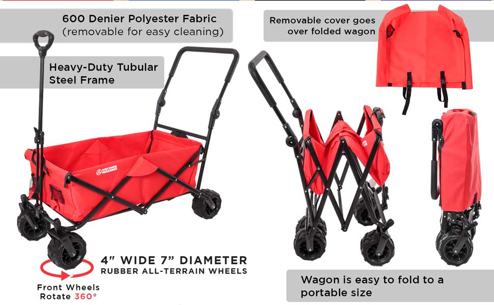 Wide Wheel Wagons All-Terrain Folding Collapsible Utility Wagon with Push Bar