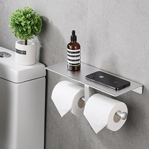 double toilet paper holder with shelf
