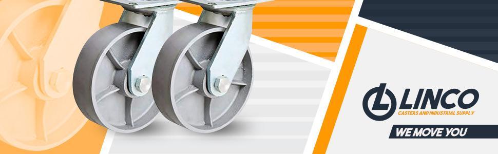 Linco 4 inch Heavy Duty Steel Swivel Caster Wheels