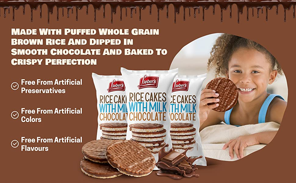 made with puffed whole grain brown rice and dipped in chocolate and baked to crispy perfection