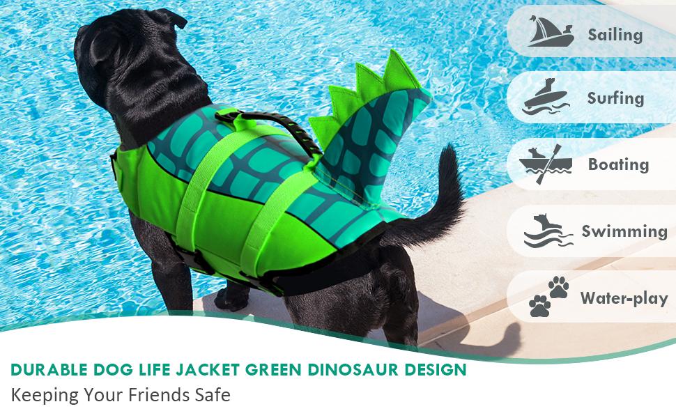 DURABLE DOG LIFE JACKET GREEN COLOR