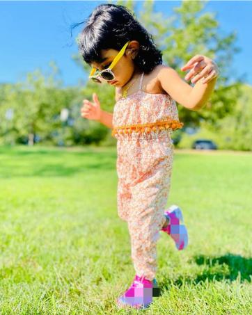 Little Girls Daisy Print Jumpsuit