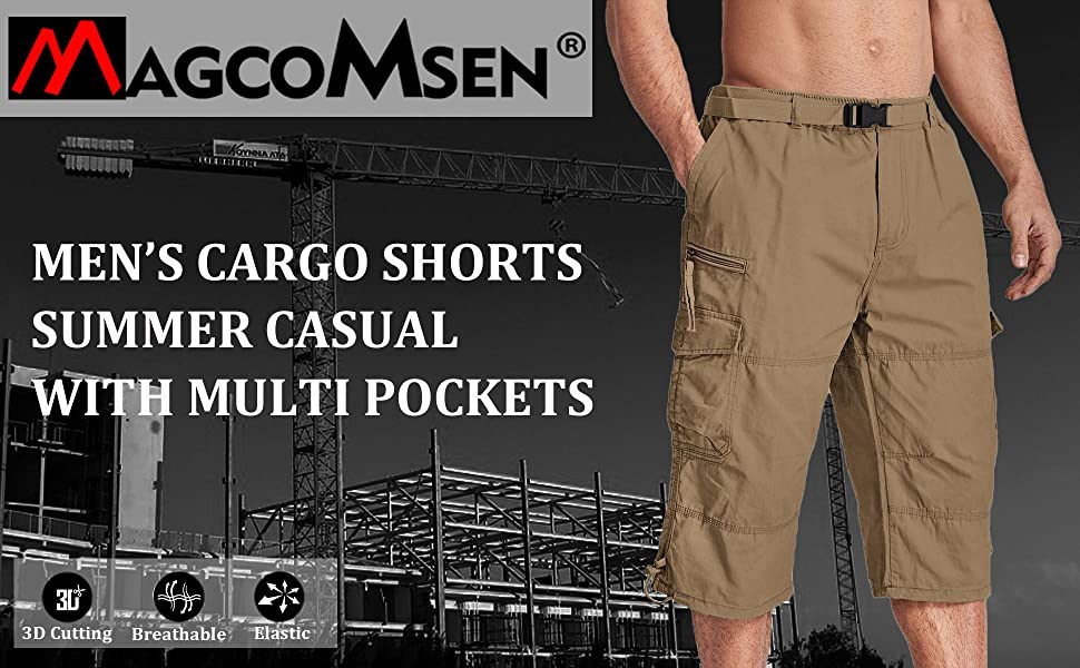MAGCOMSEN Mens Cargo Shorts Casual 3/4 Length Baggy Trousers Elasticated Waist with Multi Pockets