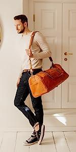 Berliner Bags Vintage Leather Duffle Bag Oslo