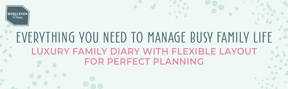 Everything you need to organise family life & working from home! 16-month diary with flexible layout