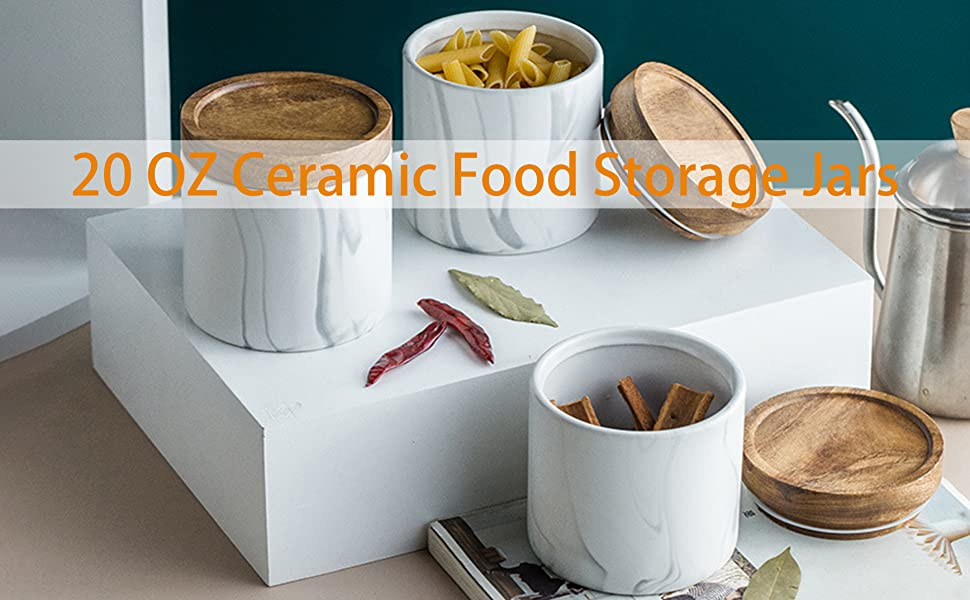 20 OZ Porcelain Coffee Storage Jars, Airtight Kitchen Canister, Marble Food Container