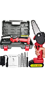 Mini Handheld Chainsaw Cordless Lightweight Charging Red