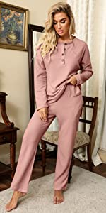 women lounge sets 2 pieces outfits waffle two pieces outwear pj sets for women longs leeve