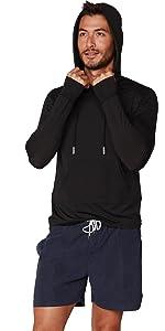 Mens UPF 50+ Sun Protection Hoodie T-Shirt Long Sleeve with Pockets SPF Shirt Running Hiking Shirt
