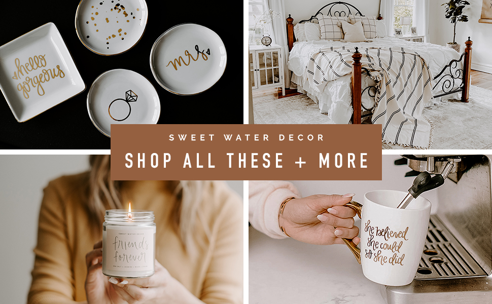 sweet water decor home gifts soy candles matches coffee mugs turkish blankets hand towels motivation