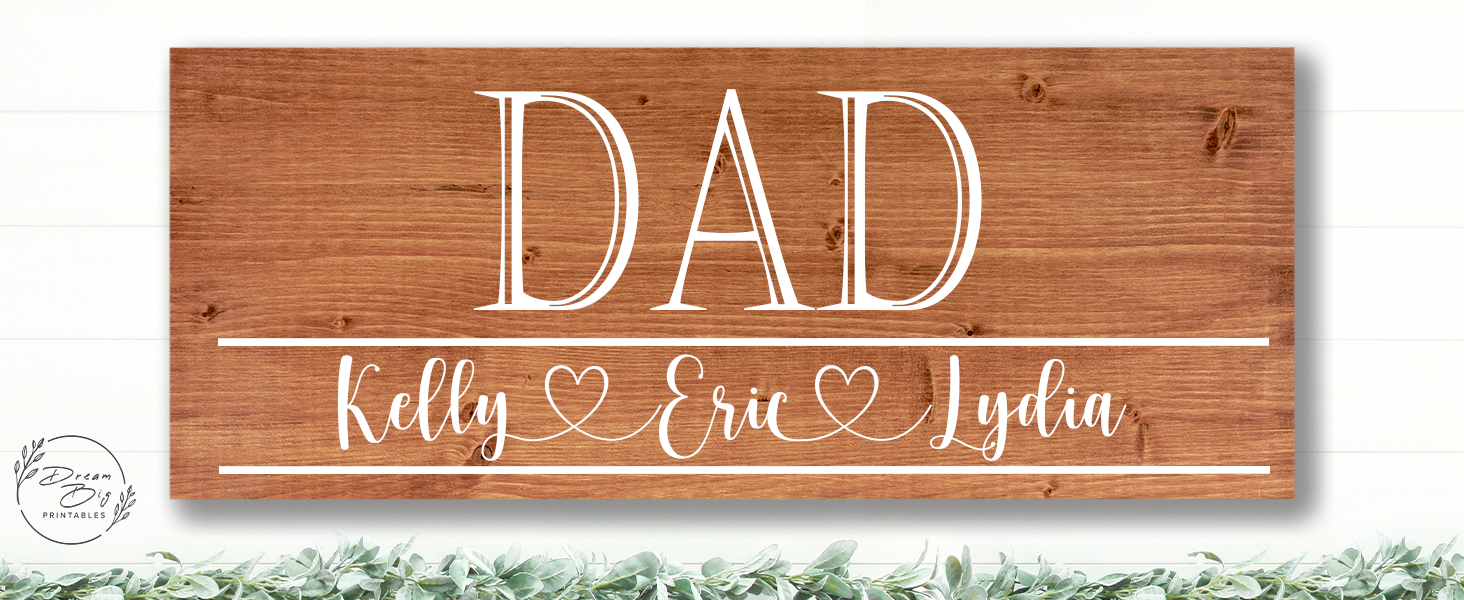 father gift dad gift kids names rustic custom wood signs personalized text