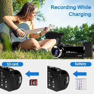 camcorder with sd card and batteries