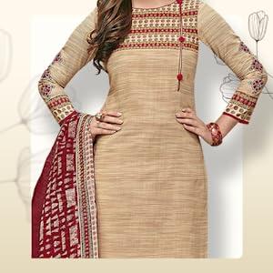 Miraan Cotton Printed Readymade Salwar Suit for Women (MIRAANSGPRI1724, Beige) SPN-FOR1