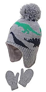 Toddler Kids Girls Hat and Gloves Set Winter Knit Beanie 1-6T