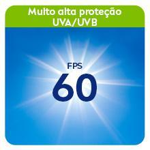 """Texto: Muito alta proteção UVA/UVB; imagem: Raios solares e """"FPS60"""""""