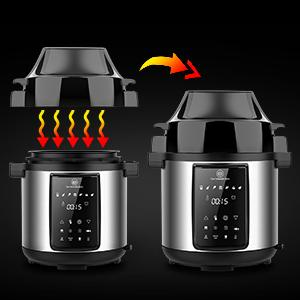 6.5Qt Pressure Cooker and Air Fryer Combos, 1500W Pressure, Steamer Cooker, Air Fryer All-in-One