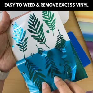 kassa holographic vinyl sheets easy to weed and remove excess vinyl blue green shde