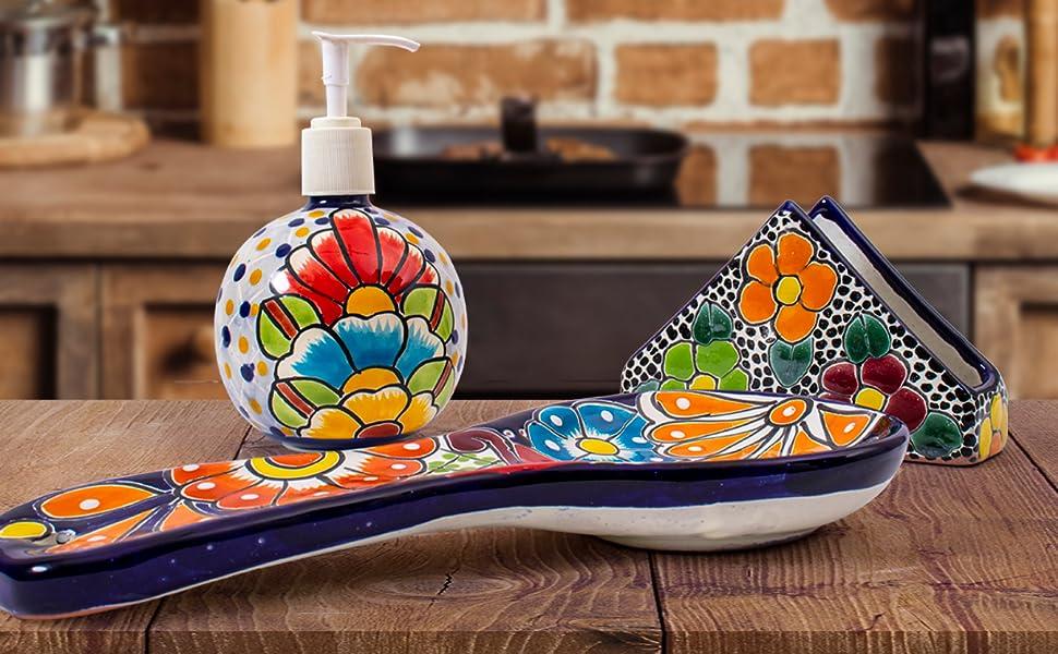 Talavera Spoon Rest Floral Soap Dispenser Napkin Holder