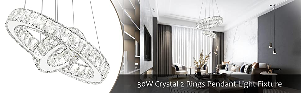 Modern LED Ring Crystal Chandeliers