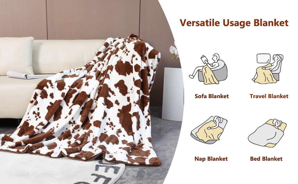 cow print blanket for bed sofa chair fluffy plush warm throw blanket