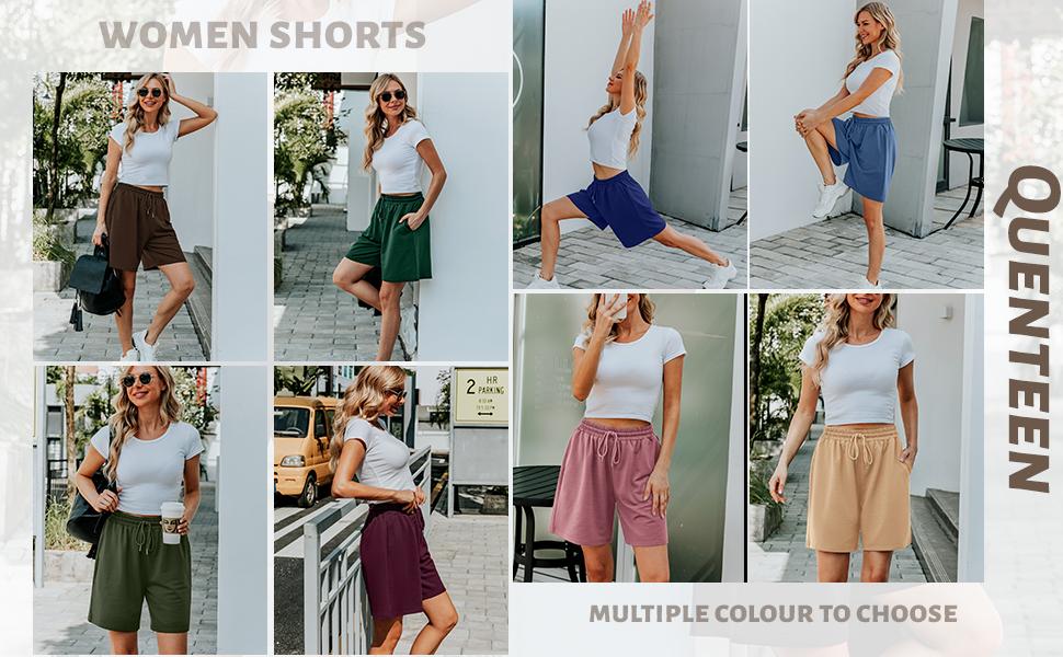 women shorts knee length Bermuda shorts pockets shorts wide leg shorts