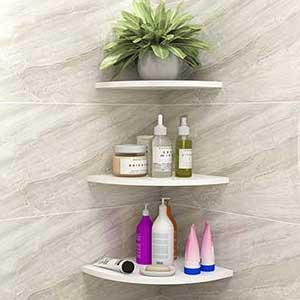Baffect Room Decor 3-Pack Corner Shelf Wooden and Plastic PVC Floating Shelves