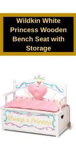 Wildkin White Princess Wooden Bench Seat with Storage