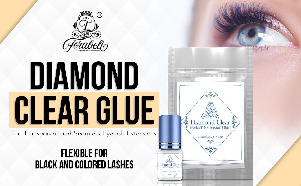 Forabeli Diamond Clear eyelash extensions glue for seamless application.