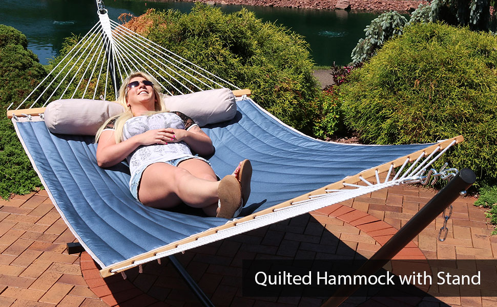 2-Person Quilted Designs Fabric Spreader Bar Hammock amp; Stand