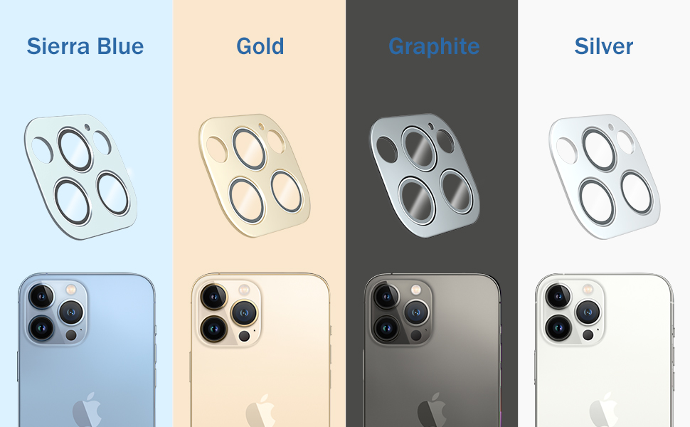 camera lens protector compatible with iphone 13 pro max 6.7'' gold