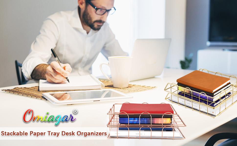desk file organizer rose gold desk accessories stackable paper tray office organization decor