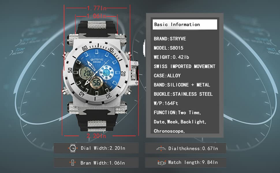 Men's Wrist Watches Size and Wight