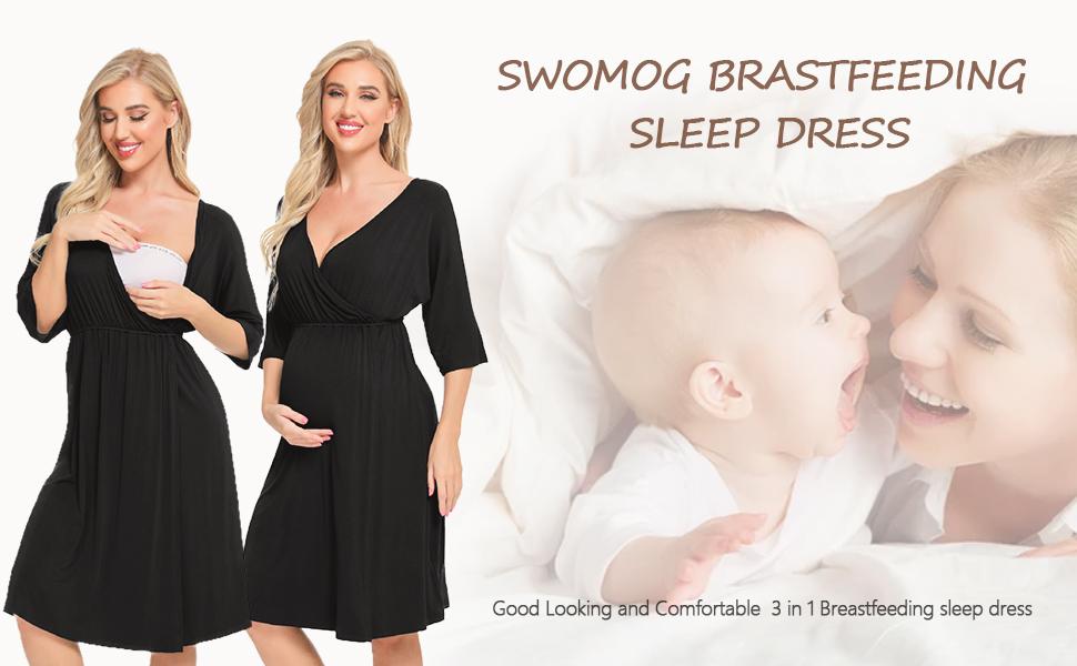 SWOMOG Women 3 in 1 Delivery/Labor/Nursing Nightgown