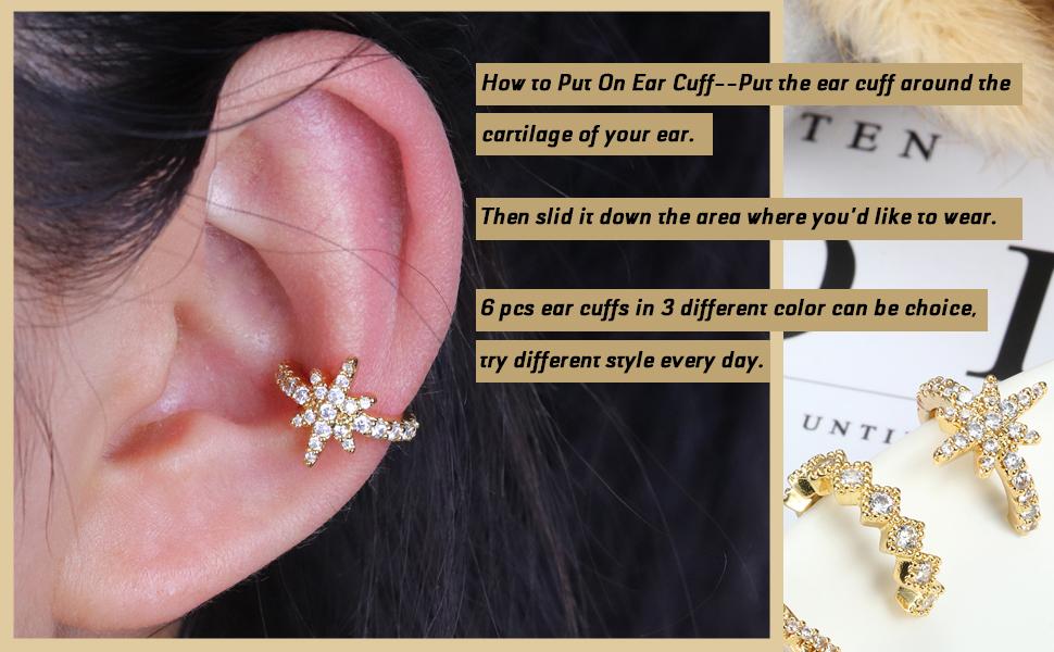 Ear Cuff Set Dainty Helix Cartilage Cuff Earrings