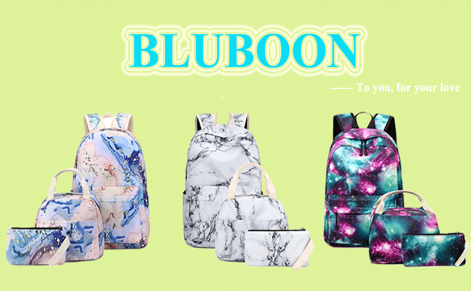 BLUBOON girls school backpack elementary bookbags with lunch box and pencil bag