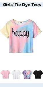 Boyoo Girl's Short Sleeve T Shirt Kids Fashion Tee Tie Dye