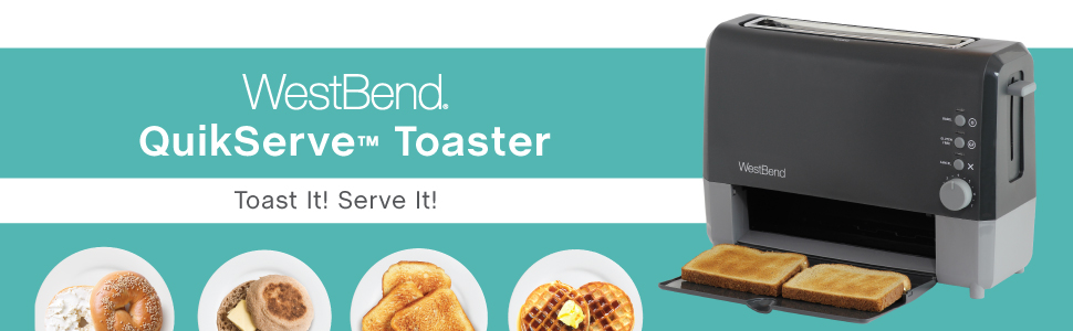 West Bend 77224 2-Slice QuikServe Slide Through Toaster