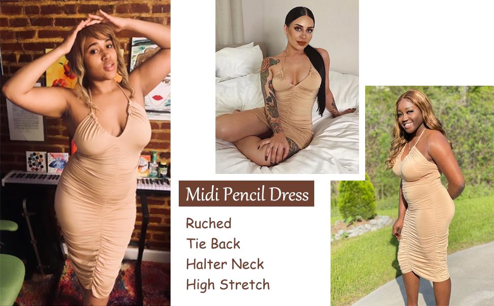 women ruched bodycon dress