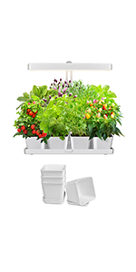 GrowLED Height Adjustable Indoor Plant Grow Garden Kit with 4 Square Plant Pots