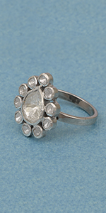 1.80 CTW Natural Uncut Diamond Polki Ring   925 Sterling Silver