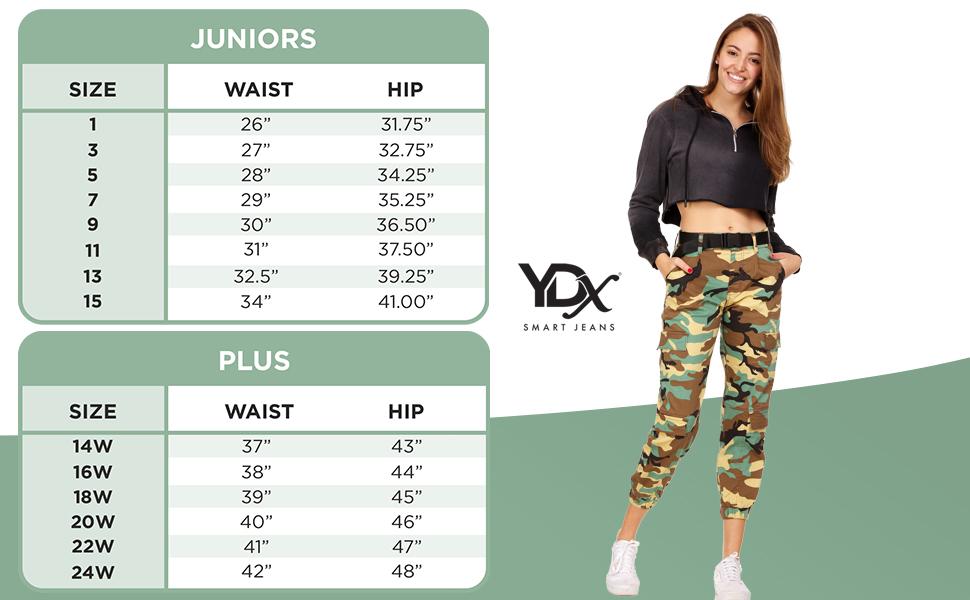size chart cargo pants juniors