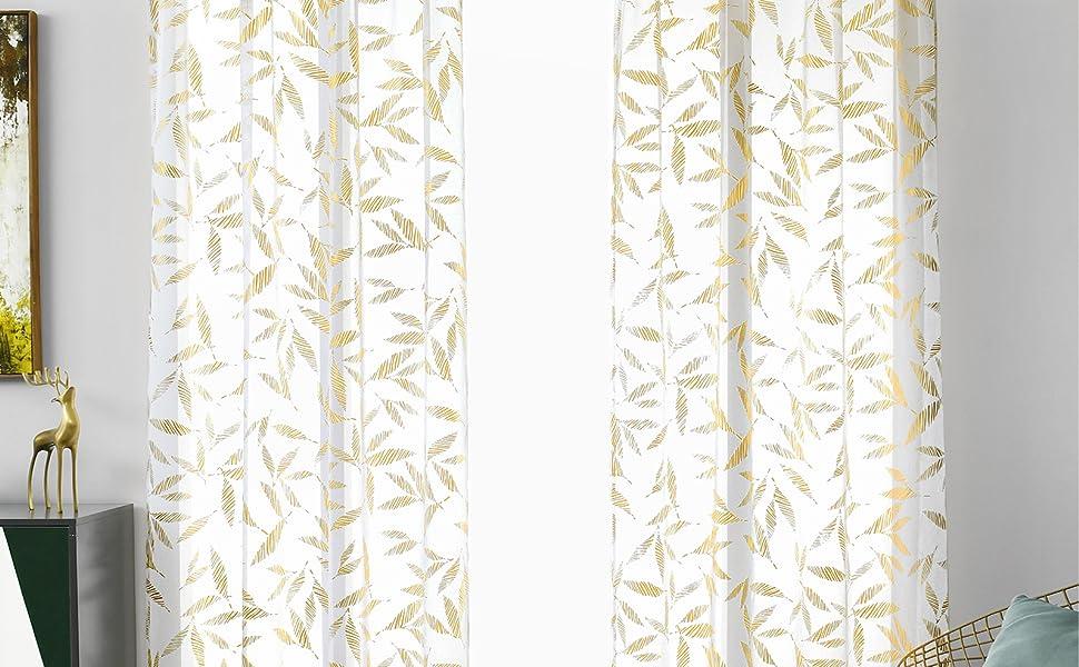 white and gold sheer curtains 45 inch length 2 panels set cortinas para sala elegantes