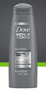 Dove Men+Care Shampoo & Conditioner Complete Care cleans and moisturizes dry hair and scalp.