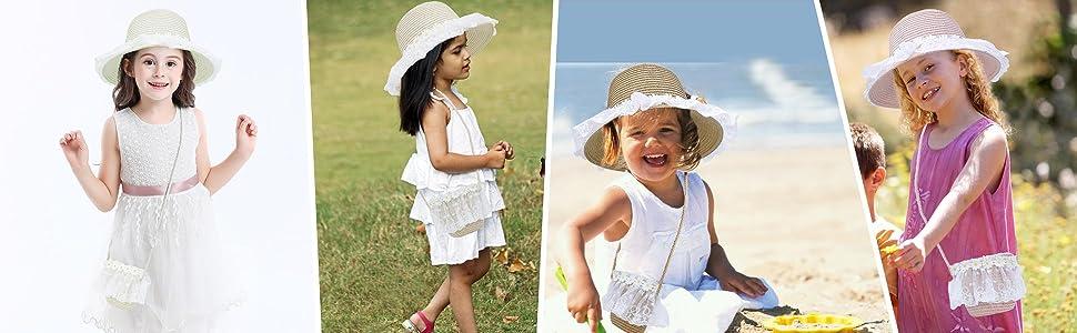 Kids Beach Hat Wide Brim with Bag Set Girls Straw Hat