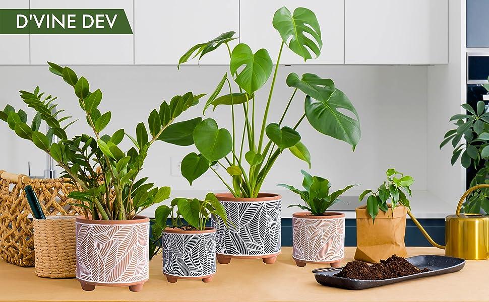 MODERN CERAMIC PLANT POT WITH FEET SERIES
