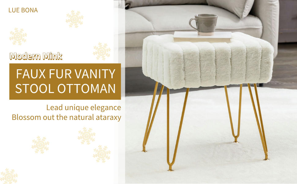 Modern Mink Square Footstool Ottoman Bench, White Furry Faux Fur Vanity Stool Chair with Gold Legs